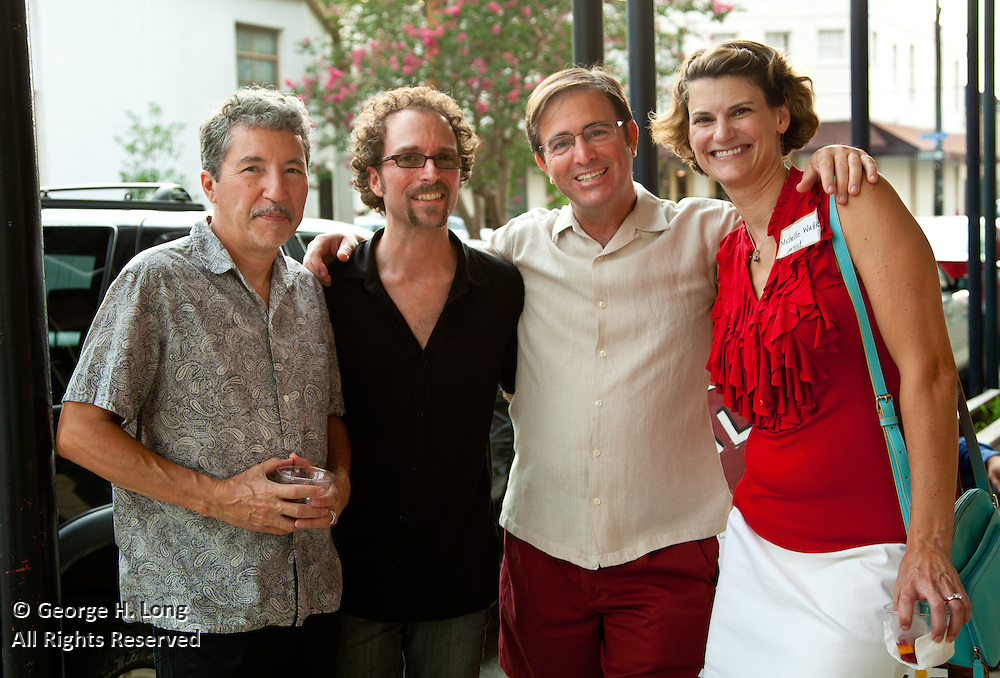 "Owen Murphy, Mead Jones, George Long, and Michelle Wuttke at New Orleans Photo Alliance opening reception for the group show ""Caliente"", juried by Jose Torres Tama"
