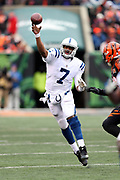 Indianapolis Colts quarterback Jacoby Brissett (7) throws a fourth quarter pass during the 2017 NFL week 8 regular season football game against the Cincinnati Bengals, Sunday, Oct. 29, 2017 in Cincinnati. The Bengals won the game 24-23. (©Paul Anthony Spinelli)