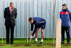 Jamie McAllister in action as Representatives of Bristol City take part in a ceremony to plant tree's in memory of the 7 Bristol City player's who lost their lives serving during WW1 - Rogan/JMP - 09/11/2018 - FOOTBALL - Failand Training Ground - Bristol, England.