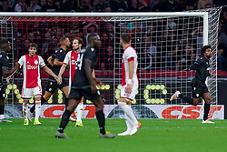 13-08-2019 NED: UEFA Champions League AFC Ajax - Paok Saloniki, Amsterdam<br />  Ajax won 3-2 and they will meet APOEL in the battle for a group stage spot / Diego Biseswar #21 of PAOK scores 0-1, Nicolás Tagliafico #31 of Ajax, Daley Blind #17 of Ajax
