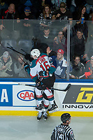 KELOWNA, CANADA - FEBRUARY 24:  Carsen Twarynski #18 and Kole Lind #16 of the Kelowna Rockets celebrate a third period goal against the Kamloops Blazers on February 24, 2018 at Prospera Place in Kelowna, British Columbia, Canada.  (Photo by Marissa Baecker/Shoot the Breeze)  *** Local Caption ***