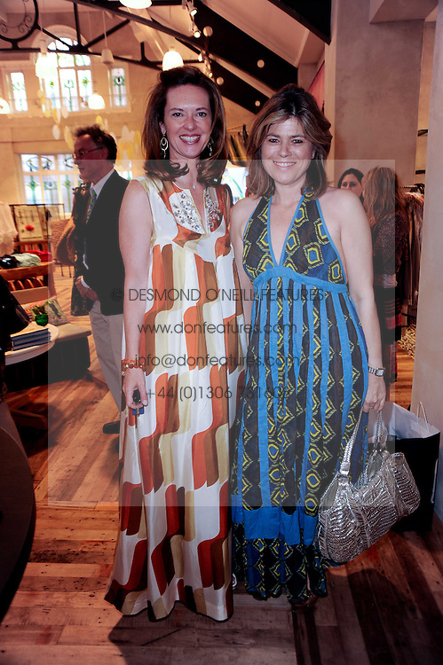 Left to right, the HON.MELISSA KNATCHBULL and SARAH STANDING at a party to celebrate the publication of Sibling Rivalry - Seven Simple Solutions by Karen Doherty & Georgia Coleridge held at Anthropologie shop, 131-141 King's Road, London SW3 on 24th May 2010.
