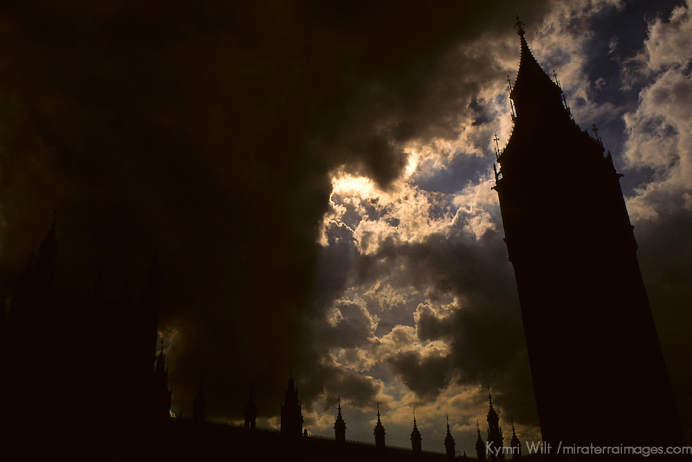United Kingdom, Great Britain; England; London. Big Ben against dark sky.