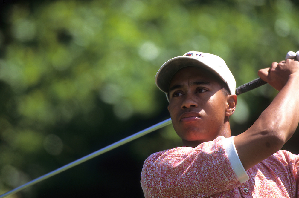 Tiger Woods at the 1995 U.S. Open Championship held at Shinnecock Hills Golf Club in Shinnecock Hills, New York.