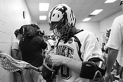 28 May 2007: Duke Blue Devils midfielder Terrence Molinari (30) pregame in the locker room before playing Johns Hopkins in the NCAA Championship at M&T Stadium in Baltimore, MD.