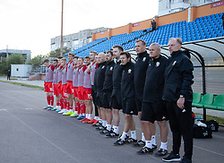 ORHEI, MOLDOVA - Friday, October 11, 2019: Wales' head coach Paul Bodin (R) and his staff and substitutes line-up before the UEFA Under-21 Championship Italy 2019 Qualifying Group 9 match between Moldova and Wales at the Orhei District Sports Complex. (Pic by Kunjan Malde/Propaganda)