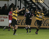 Photo: Barry Bland.<br />Boston United v Swindon Town. The FA Cup. 16/11/2005.<br />Julian Joachim celebrates after scoring.