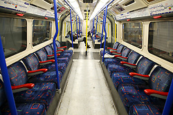 © Licensed to London News Pictures. 16/03/2020. London, UK. Empty Piccadilly Line carriage as commuters are either working form home or not travelling on the London Underground amid an increased number of Coronavirus (COVID-19) cases in the UK. 35 coronavirus victims have died and 1,372 have tested positive for the virus in the UK as of 9am on Sunday, 15 March 2020. Photo credit: Dinendra Haria/LNP