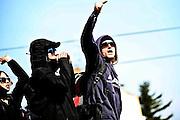 Frankfurt am Main | 18 Mar 2015<br /> <br /> Blockupy-Proteste in Frankfurt am 18.03.2015, hier: Demonstranten in der Mittagssonne an der Hanauer Landstrasse.<br /> <br /> photo &copy; peter-juelich.com
