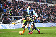 Carlisle United Forward Steven Rigg (28) and Wycombe Wanderers Defender Joe Jacobson (3) battle for the ball during the EFL Sky Bet League 2 match between Wycombe Wanderers and Carlisle United at Adams Park, High Wycombe, England on 3 February 2018. Picture by Stephen Wright.