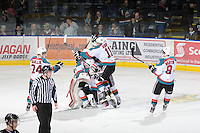 KELOWNA, CANADA - FEBRUARY 18: The Kelowna Rockets celebrate a win via shoot out against the Red Deer Rebels at the Kelowna Rockets on February 18, 2012 at Prospera Place in Kelowna, British Columbia, Canada (Photo by Marissa Baecker/Shoot the Breeze) *** Local Caption ***