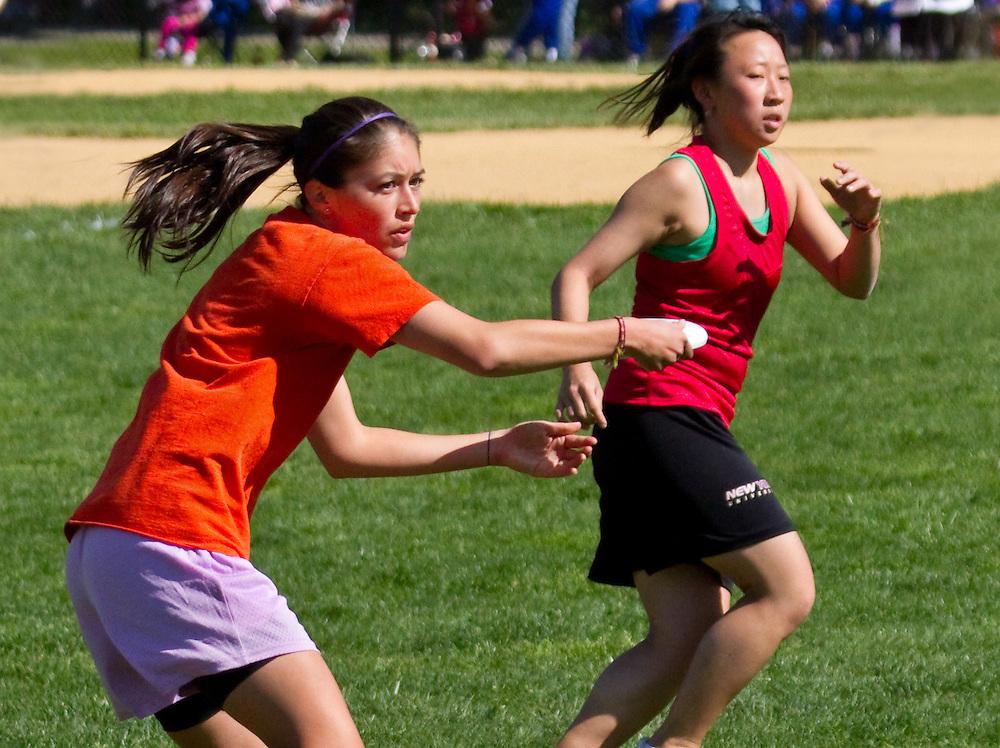 Women's frizbee game in Prospect Park, Brooklyn. 2010