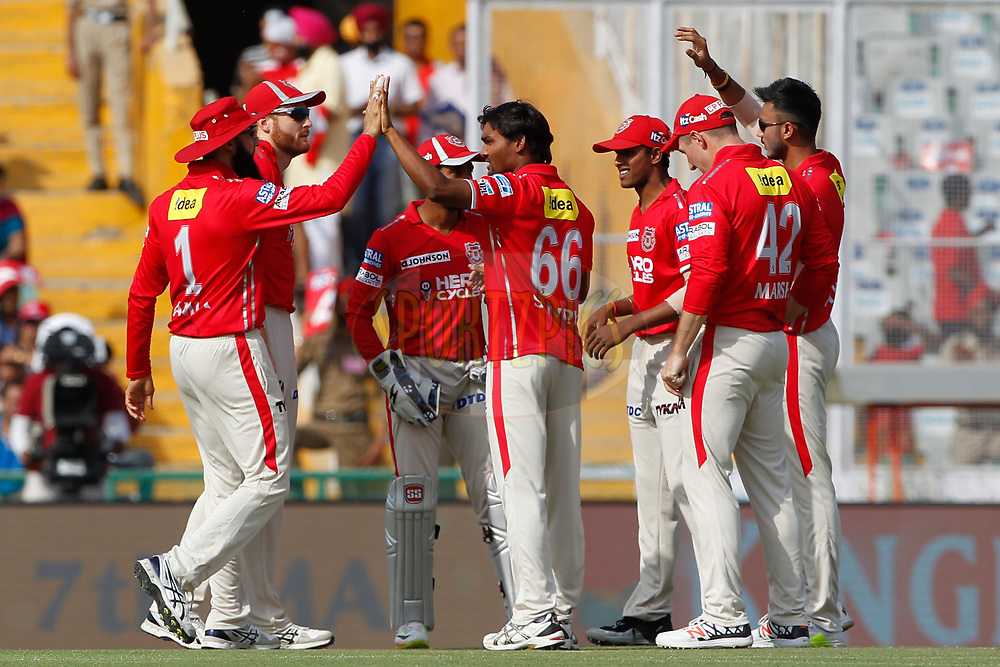 Sandeep Sharma of Kings XI Punjab celebrates the wicket of Sam Billings of the Delhi Daredevils during match 36 of the Vivo 2017 Indian Premier League between the Kings XI Punjab and the Delhi Daredevils  held at the Punjab Cricket Association IS Bindra Stadium in Mohali, India on the 30th April 2017<br /> <br /> Photo by Deepak Malik - Sportzpics - IPL