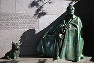 A 28.2 MG FILE FROM FILM OF:.The FDR Memorial in Washington DC.  FDR and dog Fala. Photo by Dennis Brack