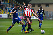 James Bolton and Danny Wright during the Vanarama National League match between FC Halifax Town and Cheltenham Town at the Shay, Halifax, United Kingdom on 3 October 2015. Photo by Antony Thompson.