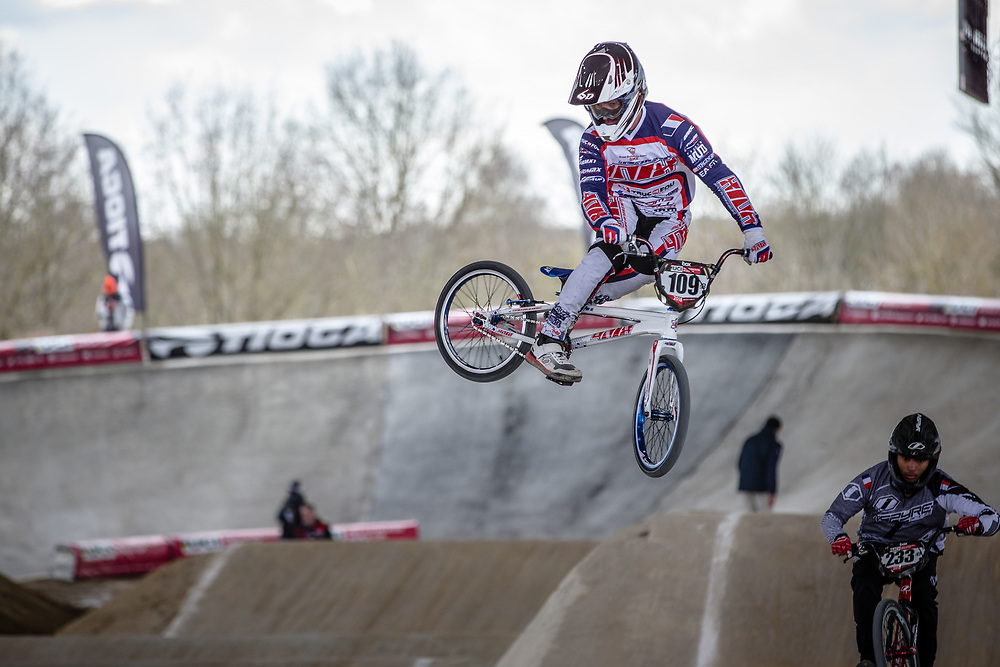 #109 (SURRUGUE Axel) FRA at Round 2 of the 2018 UCI BMX Superscross World Cup in Saint-Quentin-En-Yvelines, France.