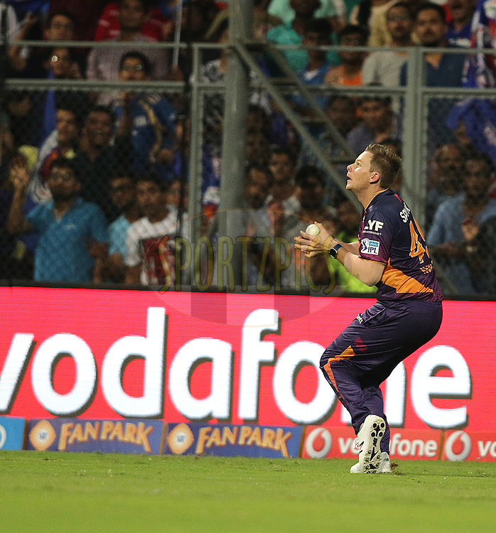 Steve Smith of Pune Supergiants takes catch Vinay Kumar of MI during match 1 of the Vivo Indian Premier League ( IPL ) 2016 between the Mumbai Indians and the Rising Pune Supergiants held at the Wankhede Stadium in Mumbai on the 9th April 2016<br /> <br /> Photo by Rahul Gulati/ IPL/ SPORTZPICS