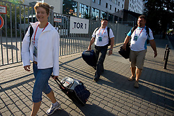 Athlete Martina Ratej  of Slovenia, Andrej Hajnsek and Vlado Kevo at departure back to Slovenia during day five of the 12th IAAF World Athletics Championships at the Hotel Estrel on August 18, 2009 in Berlin, Germany. (Photo by Vid Ponikvar / Sportida)