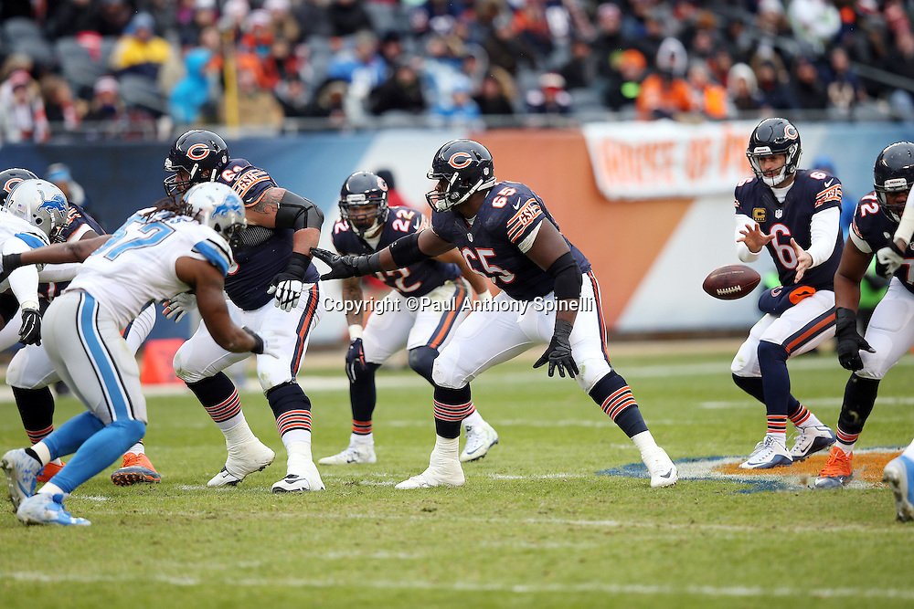 Chicago Bears offensive guard Patrick Omameh (65) blocks during the NFL week 17 regular season football game against the Detroit Lions on Sunday, Jan. 3, 2016 in Chicago. The Lions won the game 24-20. (©Paul Anthony Spinelli)