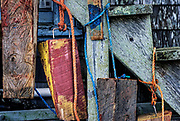 Colorful boat wedges hanging on a harbor shanty, Menemsha, Chilmark, Martha's Vineyard, Massachusetts, USA