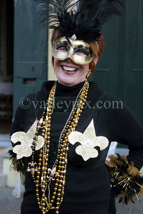 07 February 2010. New Orleans, Louisiana, USA. <br /> Super Bowl XL1V. <br /> Joyce Young. New Orleans Saints fans gather in the French Quarter in anticipation of the big game in Miami later in the day as the home team goes head to head with the Indianapolis Colts for Super Bowl 44. <br /> Photo &copy;; Charlie Varley/varleypix.com
