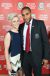 CARDIFF, WALES - Monday, October 8, 2012: Wales' captains Jessica Fishlock and Ashley Williams during the FAW Player of the Year Awards Dinner at the National Museum Cardiff. (Pic by David Rawcliffe/Propaganda)