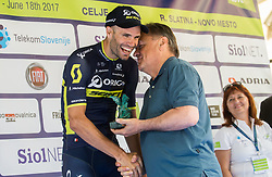 Winner Luka Mezgec (SLO) of Orica - Scott and Zoran Jankovic, mayor of Ljubljana during trophy ceremony after the Stage 2 of 24th Tour of Slovenia 2017 / Tour de Slovenie from Ljubljana to Ljubljana (169,9 km) cycling race on June 16, 2017 in Slovenia. Photo by Vid Ponikvar / Sportida
