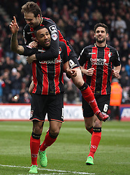 Bournemouth's Callum Wilson celebrates with Bournemouth's Brett Pitman - Photo mandatory by-line: Robbie Stephenson/JMP - Mobile: 07966 386802 - 14/03/2015 - SPORT - Football - Bournemouth - Dean Court - AFC Bournemouth v Blackpool - Sky Bet Championship