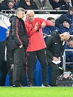 Football - 2018 / 2019 Premier League - Cardiff City vs. Manchester United<br /> <br /> Manchester Utd caretaker manager Ole Gunnar Solskjaer in his 1st game in charge & his staff on the touchline, at Cardiff City Stadium.<br /> <br /> COLORSPORT/WINSTON BYNORTH