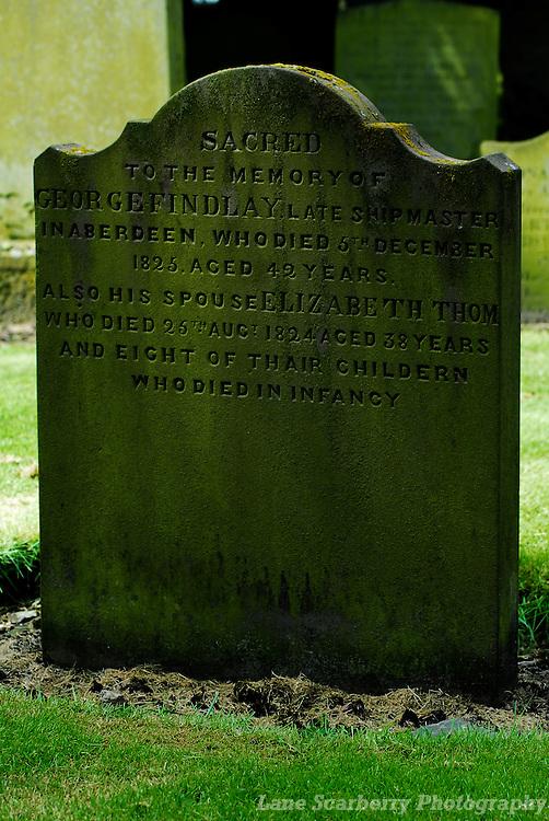 Gravestone in Aberdeen, Scotland