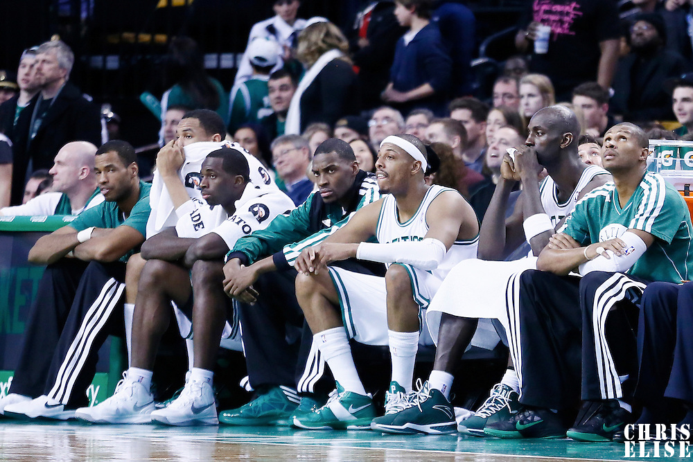 02 January 2013: The Celtics bench with Boston Celtics power forward Brandon Bass (30), Boston Celtics small forward Paul Pierce (34) and Boston Celtics power forward Kevin Garnett (5), looks dejected during the Memphis Grizzlies 93-83 victory over the Boston Celtics at the TD Garden, Boston, Massachusetts, USA.