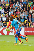 Steve Mandanda (Olympique de Marseille) and Patrice Evra (Olympique de Marseille) during the French championship L1 football match between Nantes v Marseille, on August 12, 2017 at the Beaujoire stadium in Nantes, France - Photo Stephane Allaman / ProSportsImages / DPPI