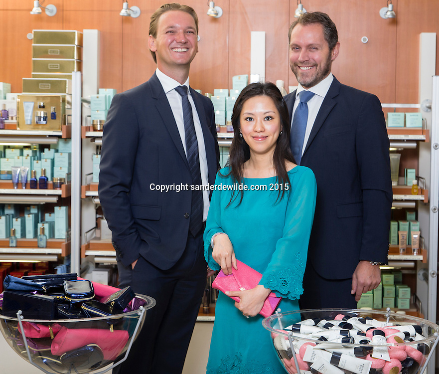 Oevel 27 July 2015 Estee Lauder<br /> Laurens Tijdhof (L), Angel (M) and Bart Taeymans (R) portrayed at the Estee Lauder Plant in Oevel, Flanders, Belgium.
