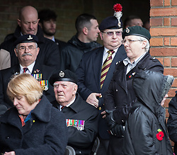 © Licensed to London News Pictures . 29/03/2015 . Manchester , UK . A memorial service in honour of Lee Rigby , at which a bronze drum , in memory of Fusilier Lee Rigby , is unveiled , at Middleton Memorial Gardens , North Manchester . Rigby was murdered in a terrorist attack in Woolwich in May 2013 . Photo credit : Joel Goodman/LNP