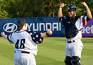 July 5, 2017 - Trenton, New Jersey, U.S - Trenton Thunder Bat Boy (and participant in the Special Olympics) TOMMY SMITH, left, stretches with Thunder catcher JORGE SAEZ before the game tonight vs. the Fightin Phils at ARM & HAMMER Park. (Credit Image: © Staton Rabin via ZUMA Wire)
