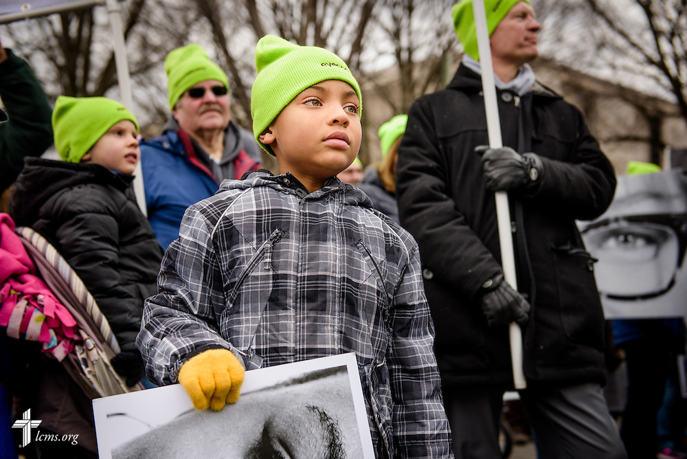 Solomon Stout waits to join the March for Life 2017 on Friday, Jan. 27, 2017, in Washington, D.C. LCMS Communications/Erik M. Lunsford