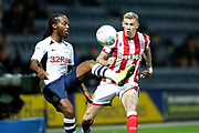 Preston North End midfielder Daniel Johnson (11) and Stoke City midfielder James McClean (11) during the EFL Sky Bet Championship match between Preston North End and Stoke City at Deepdale, Preston, England on 21 August 2019.