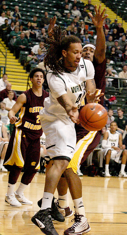 WSU freshman Tavares Sledge (44) as the Central Michigan Chippewas play the Wright State University Raiders at the Nutter Center, Thursday, December 22, 2011.