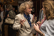 LINDY DUFFERIN; COUNTESS OF LICHFIELD; , David Campbell Publisher of Everyman's Library and Champagen Bollinger celebrate the completion of the Everyman Wodehouse in 99 volumes and the 2015 Bollinger Everyman Wodehouse prize shortlist. The Archive Room, The Goring Hotel. London. 20 April 2015.