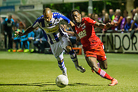 LIENDEN - 21-09-2016, FC Lienden - AZ, Sportpark de Abdijhof Lienden speler Jermo Wilsterman, AZ speler Ridgeciano Haps