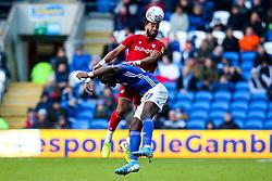 Ashley Williams of Bristol City challenges Omar Bogle of Cardiff City - Mandatory by-line: Robbie Stephenson/JMP - 10/11/2019 -  FOOTBALL - Cardiff City Stadium - Cardiff, Wales -  Cardiff City v Bristol City - Sky Bet Championship