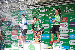 Top three in the general classification celebrate: Coryn Rivera (USA), Marianne Vos (NED), Dani Rowe (GBR) at OVO Energy Women's Tour 2018 - Stage 5, a 122 km road race from Dolgellau to Colwyn Bay, United Kingdom on June 17, 2018. Photo by Sean Robinson/velofocus.com