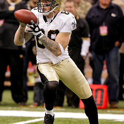 2009 October 18: New Orleans Saints tight end Jeremy Shockey (88) catches a pass during warm ups prior to kickoff of a 48-27 win by the New Orleans Saints over the New York Giants at the Louisiana Superdome in New Orleans, Louisiana.