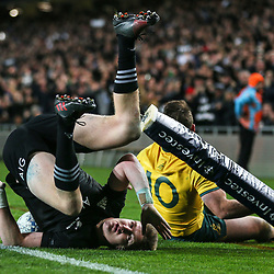 Jordie Barrett during the Bledisloe Cup and Rugby Championship rugby match between the New Zealand All Blacks and Australia Wallabies at Eden Park in Auckland, New Zealand on Saturday, 25 August 2018. Photo: Simon Watts / lintottphoto.co.nz