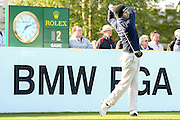 golf professional Jorge Campillo teeing off on the 1st  during the BMW PGA Championship at the Wentworth Club, Virginia Water, United Kingdom on 26 May 2016. Photo by Simon Davies.