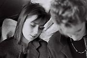 Two teenage girls asleep, London, UK, 1984