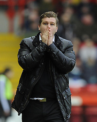 Milton Keynes Dons Manager, Karl Robinson reacts to his player missing an easy chance - Photo mandatory by-line: Joe Meredith/JMP - Tel: Mobile: 07966 386802 18/01/2014 - SPORT - FOOTBALL - Ashton Gate - Bristol - Bristol City v MK Dons - Sky Bet League One