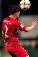 SYDNEY, AUSTRALIA - APRIL 10: Shanghai SIPG FC player Zhang Wei (2) heads the ball at The AFC Champions League football game between Sydney FC and Shanghai SIPG FC on April 10, 2019, at Netstrata Jubilee Stadium in Sydney, Australia. (Photo by Speed Media/Icon Sportswire)