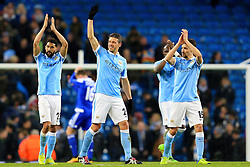 Manchester City players celebrate at full time - Mandatory byline: Matt McNulty/JMP - 15/03/2016 - FOOTBALL - Etihad Stadium - Manchester, England - Manchester City v Dynamo Kyiv - Champions League - Round of 16