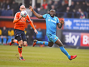 Barnet player John Akinde try to run on the ball in the first half during the EFL Sky Bet League 2 match between Luton Town and Barnet at Kenilworth Road, Luton, England on 24 March 2018. Picture by Ian  Muir.
